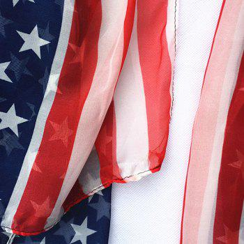 American Flag Chiffon Shawl Scarf - RED