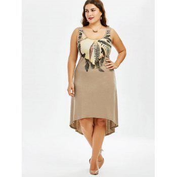 Plus Size Sleeveless A Line High Low Dress - KHAKI 2XL