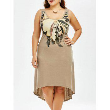 Plus Size Sleeveless A Line High Low Dress