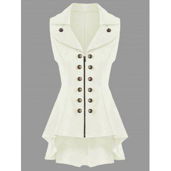 Double Breast Lapel High Low Dressy Waistcoat - OFF-WHITE M