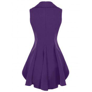 Double Breast Lapel High Low Dressy Waistcoat - PURPLE XL