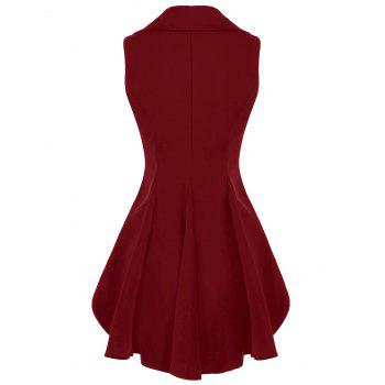 Double Breast Lapel High Low Dressy Waistcoat - CLARET L