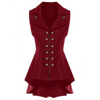 Double Breast Lapel High Low Dressy Waistcoat - CLARET CLARET