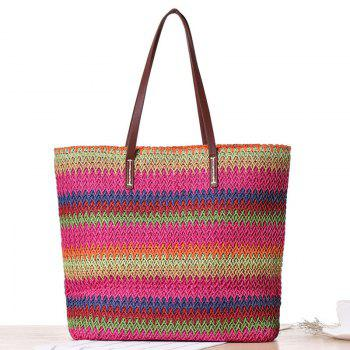 Color Blocking Woven Beach Bag