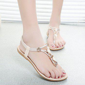 Metal Elastic Band Flat Heel Sandals