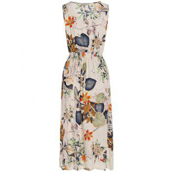 Elastic High Waist Plants Printed Midi Dress - OFF WHITE ONE SIZE