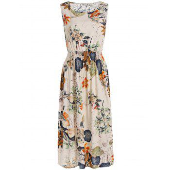 Elastic High Waist Plants Printed Midi Dress
