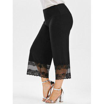 Lace Trim Palazzo Plus Size Pants - BLACK 5XL