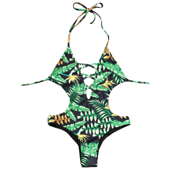 Backless Plunge Monokini with Tropical Print - GREEN GREEN