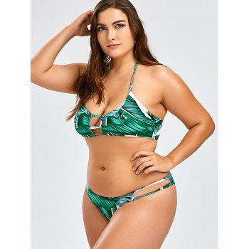 Ensemble de bikini tropical à bords tropicaux - Vert 3XL