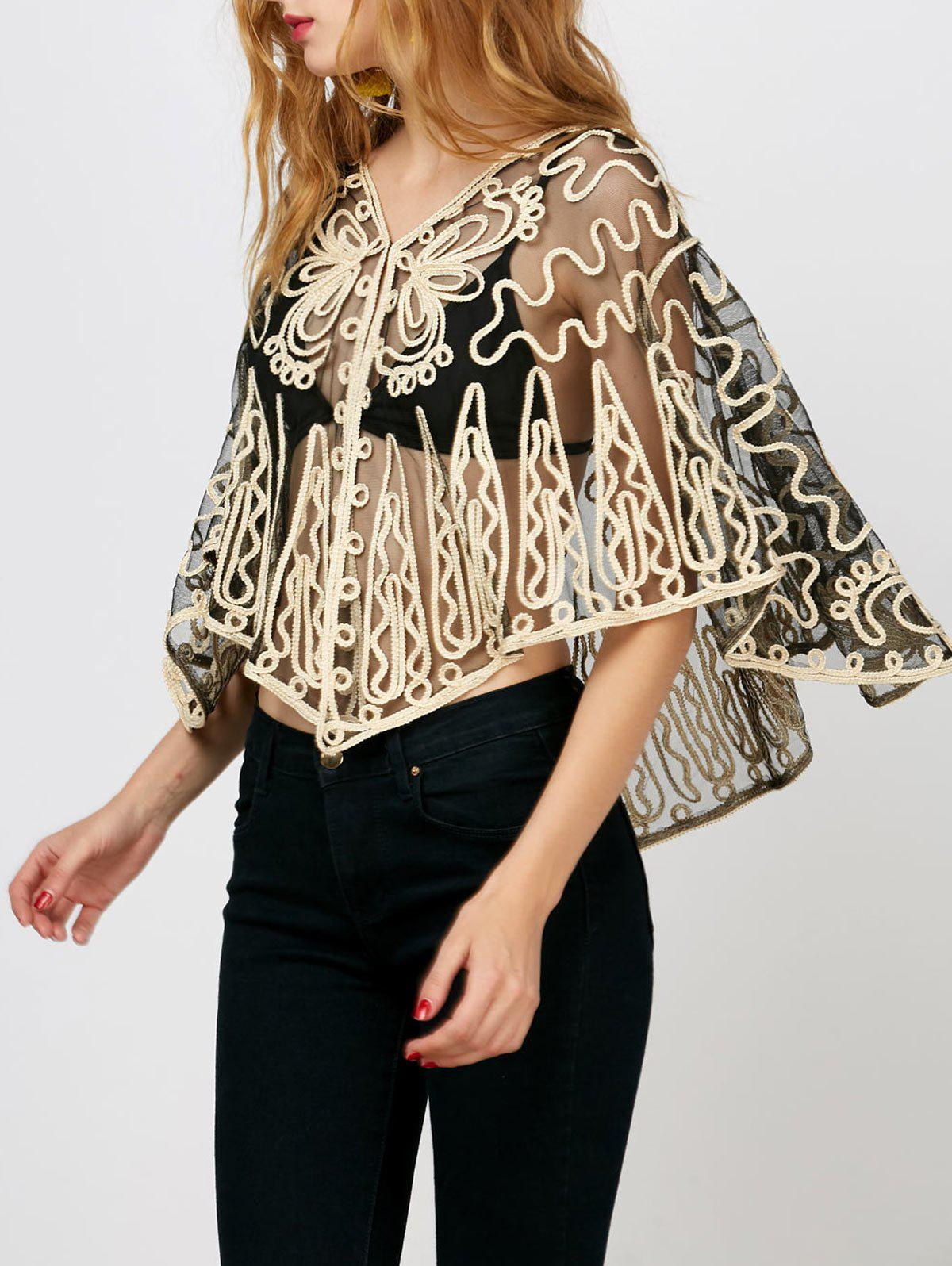 Dolman Sleeve Embroidered See Through Blouse - BLACK ONE SIZE