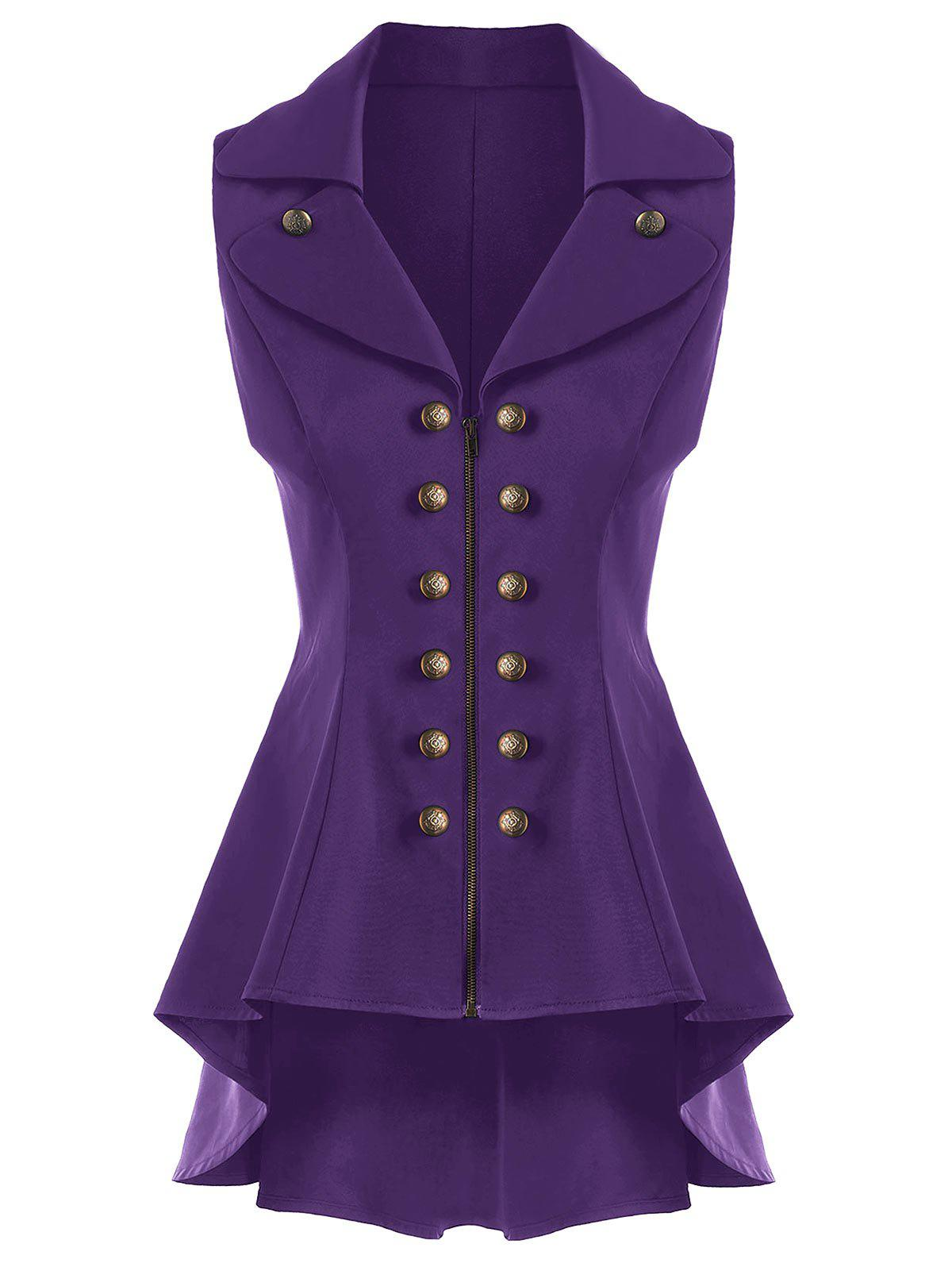 Double Breast Lapel High Low Dressy Waistcoat - PURPLE 2XL
