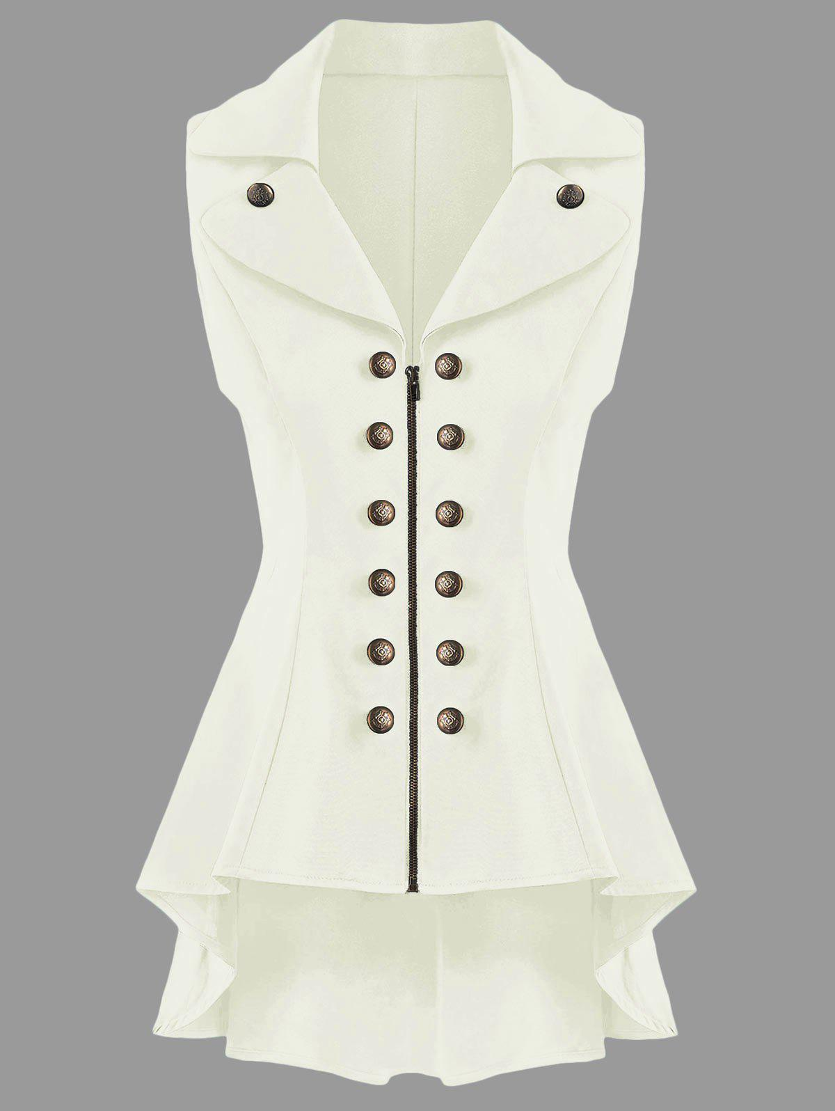 Double Breast Lapel High Low Dressy Waistcoat - OFF WHITE 2XL