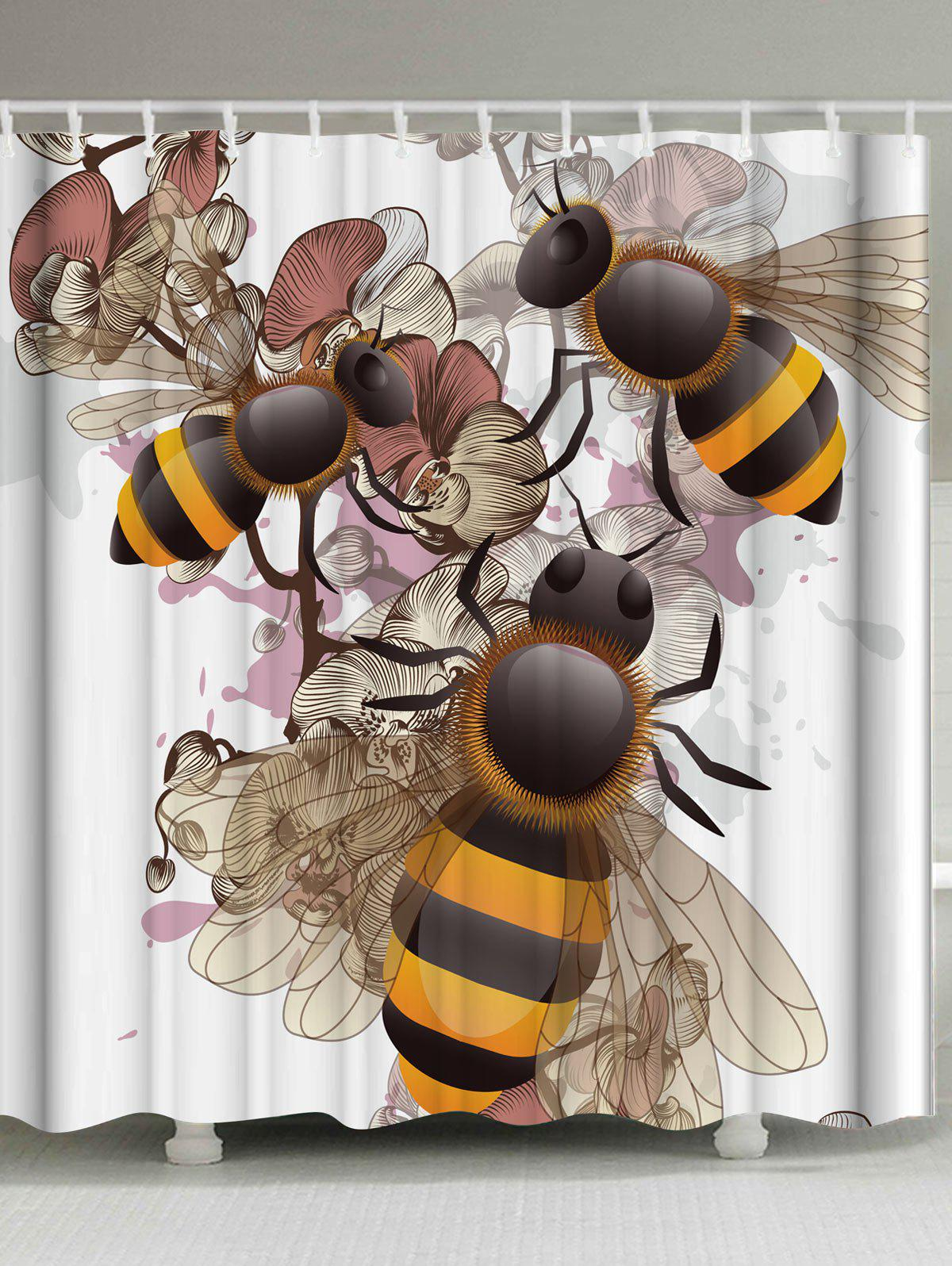 Floral Bee Fabric Shower Curtain with Hooks retro style waterproof fabric shower curtain with hooks