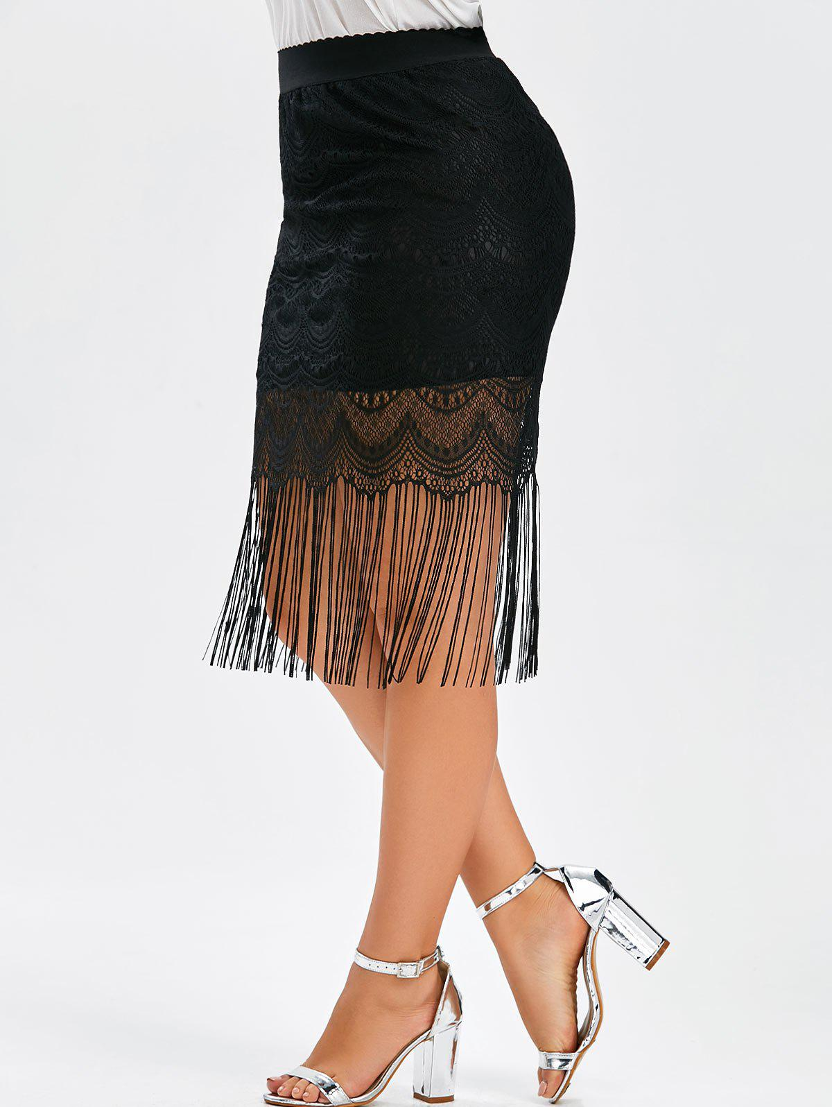 Fringe Lace Plus Size Skirt цена и фото