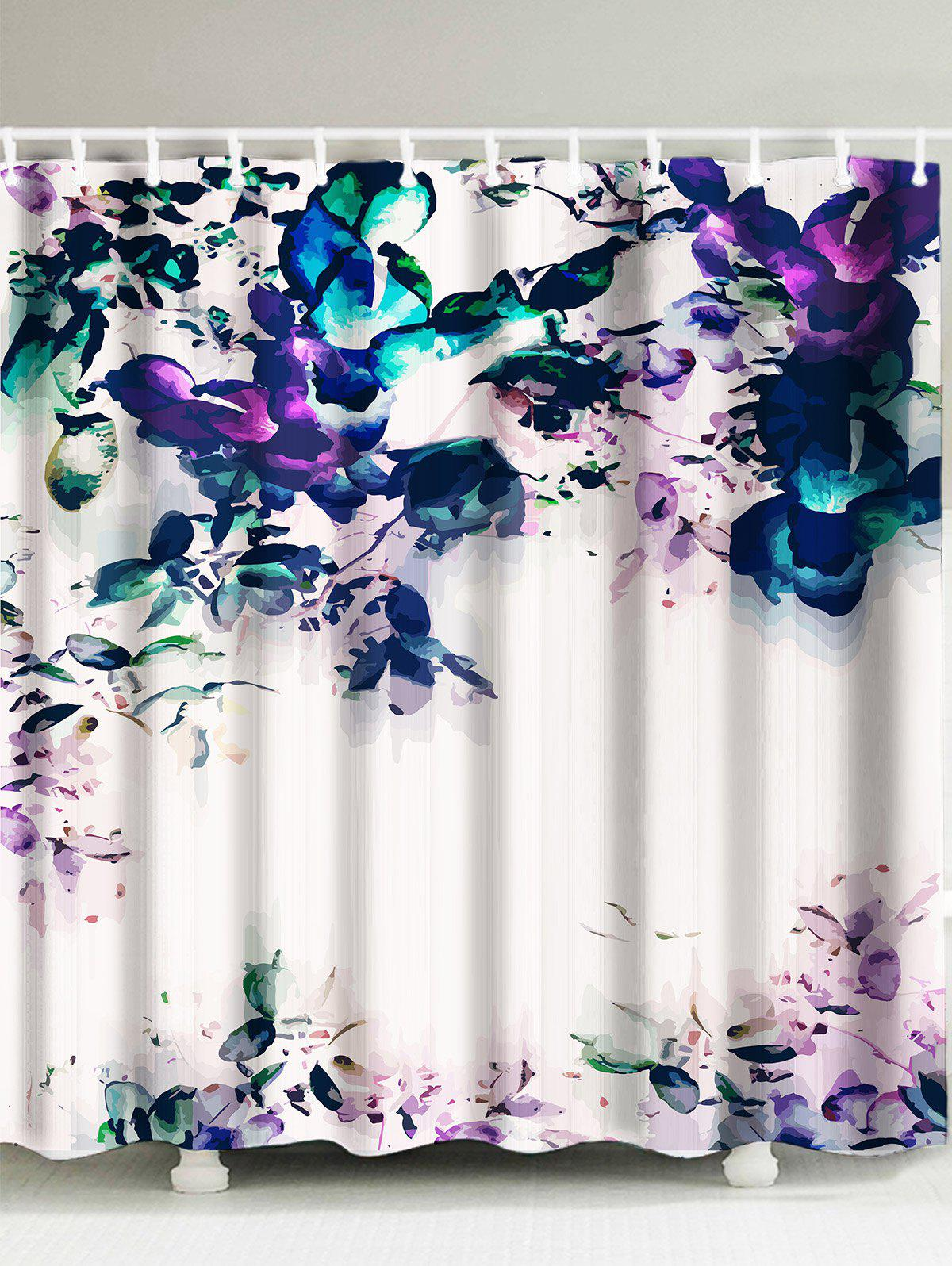 Painting Flower Shower Curtain ink painting dotted waterproof shower curtain