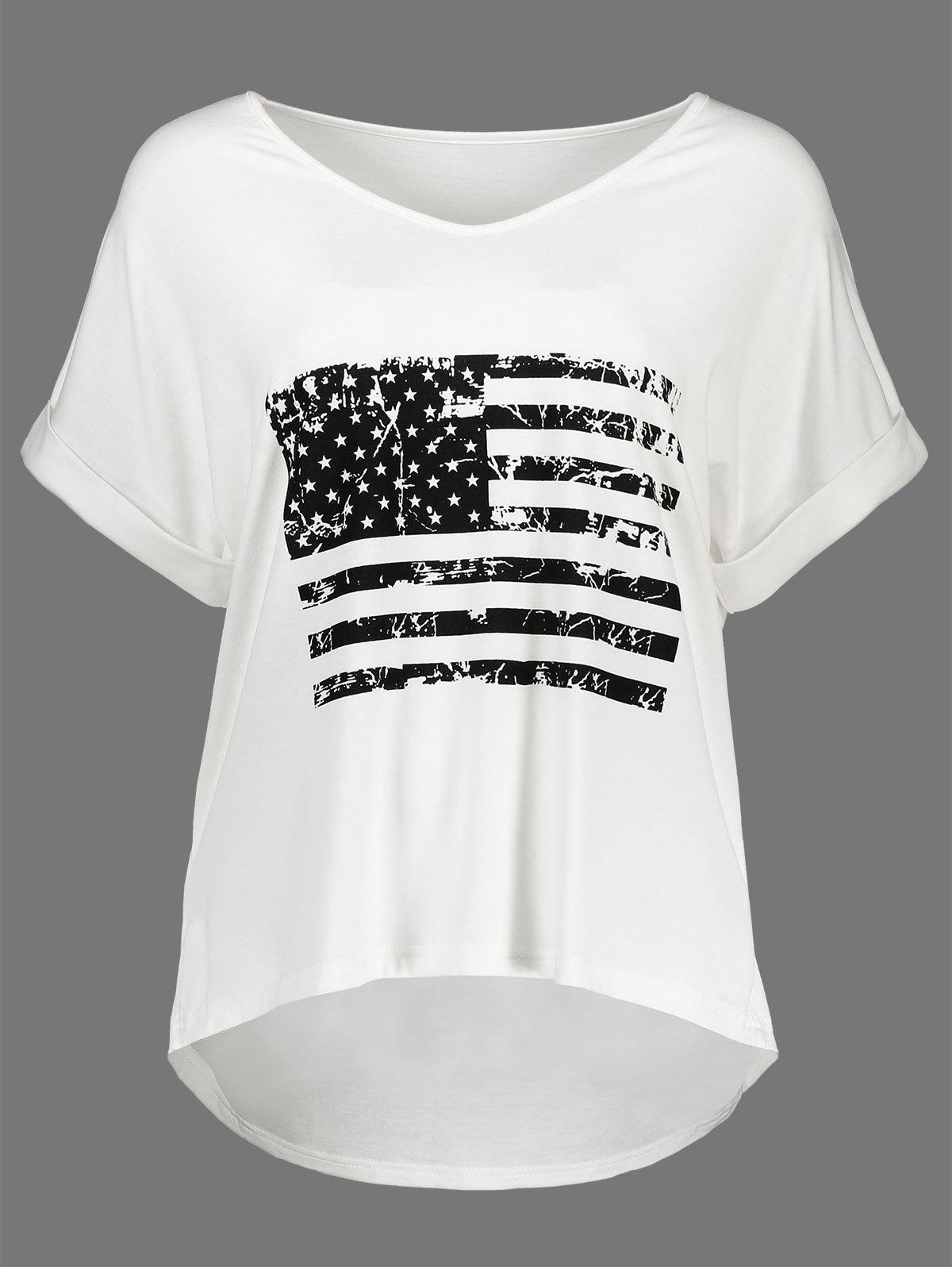 Patriotic American Flag Graphic High Low Tee patriotic american flag wrap cover up dress