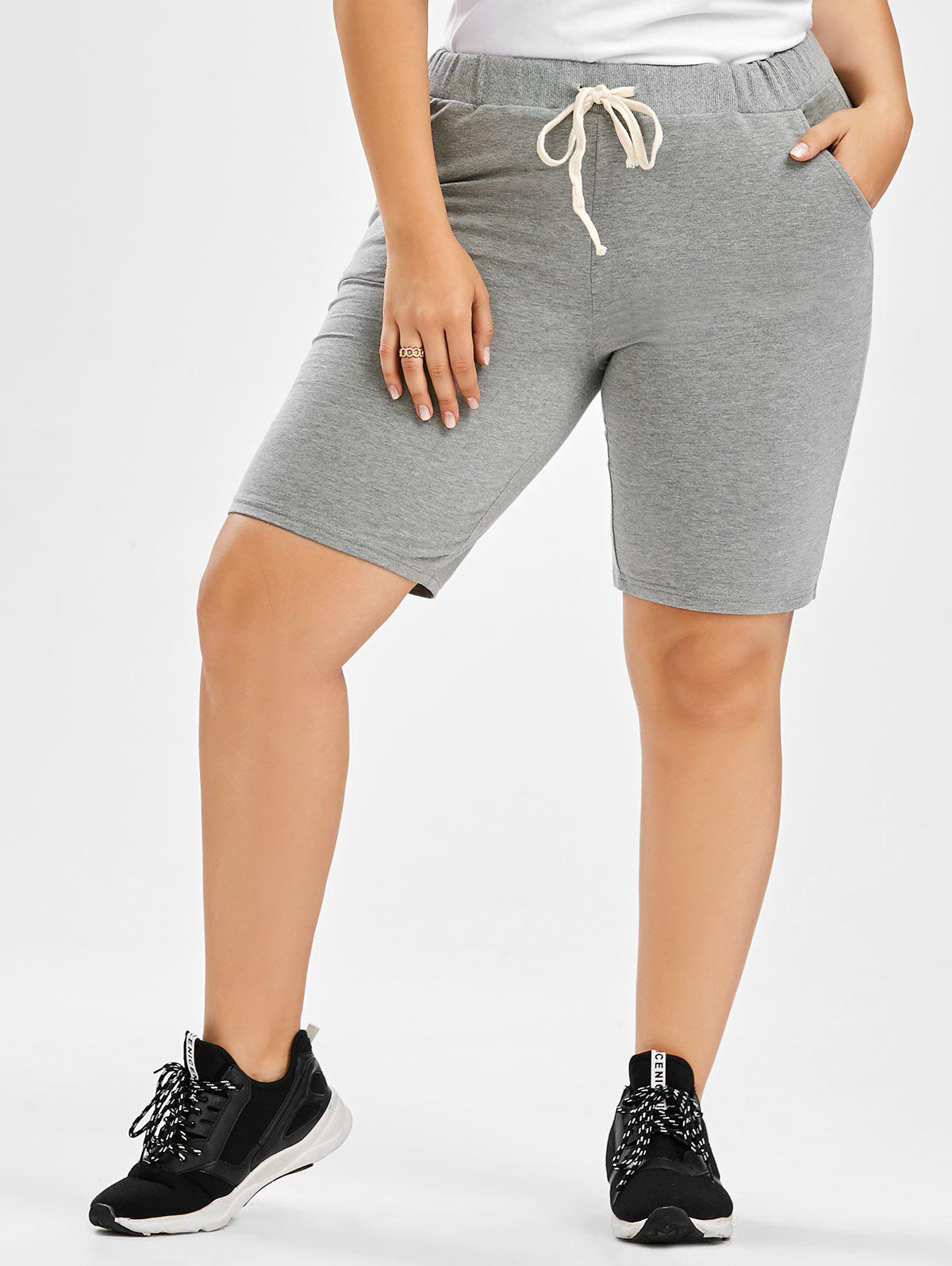 Drawstring Plus Size Sweat Shorts - GRAY 2XL