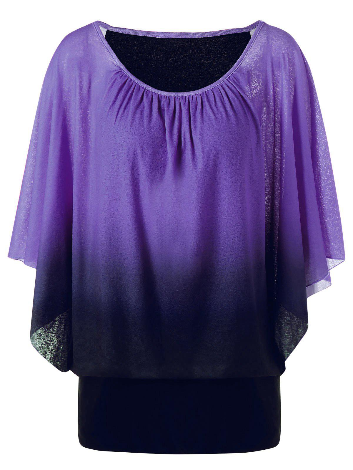 Plus Size Ombre Butterfly Sleeve T-Shirt butterfly sleeve rhinestone embellished plus size t shirt