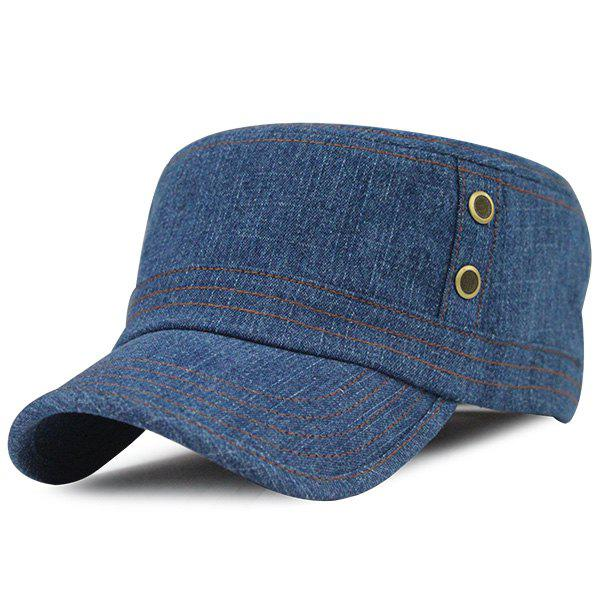 Outdoor Sunscreen Jeans Flat Top Hat - MEDIUM BLUE