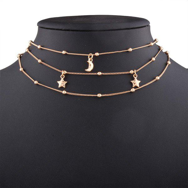 Alloy Star Beads Moon Chain Layered Necklace layered alloy engraved coins moon necklace