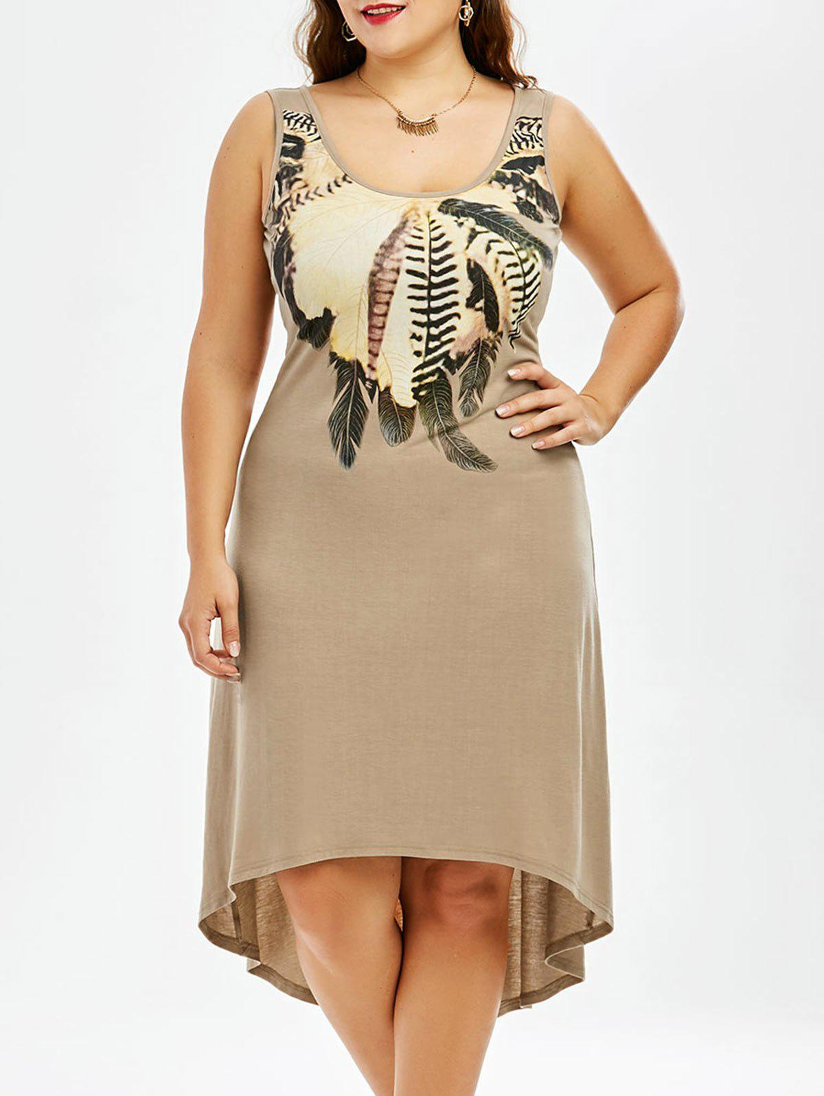 Plus Size Sleeveless A Line High Low Dress - KHAKI XL