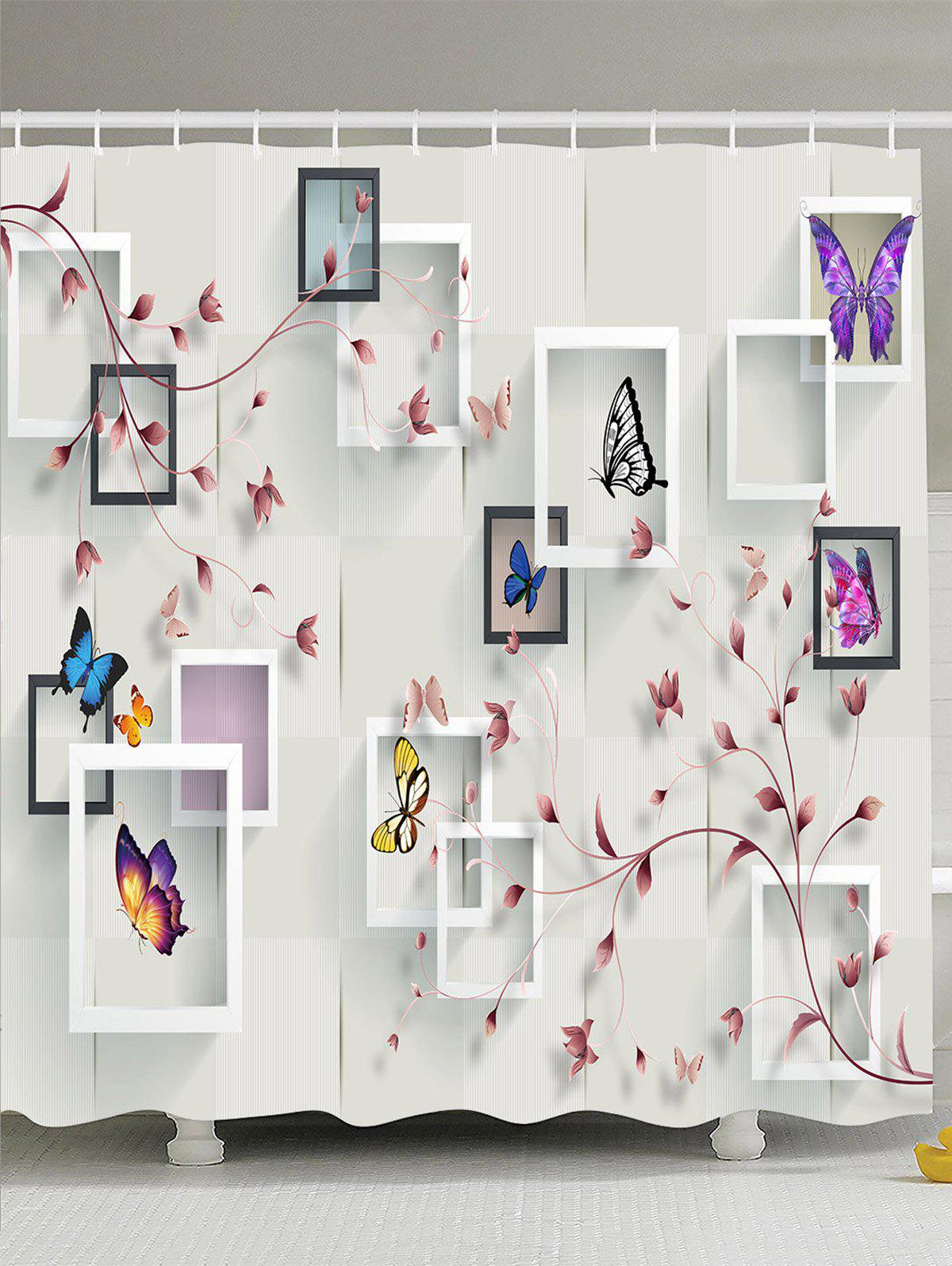 Photo Frame Flower Butterfly Shower Curtain flower butterfly mantis water resistant shower curtain