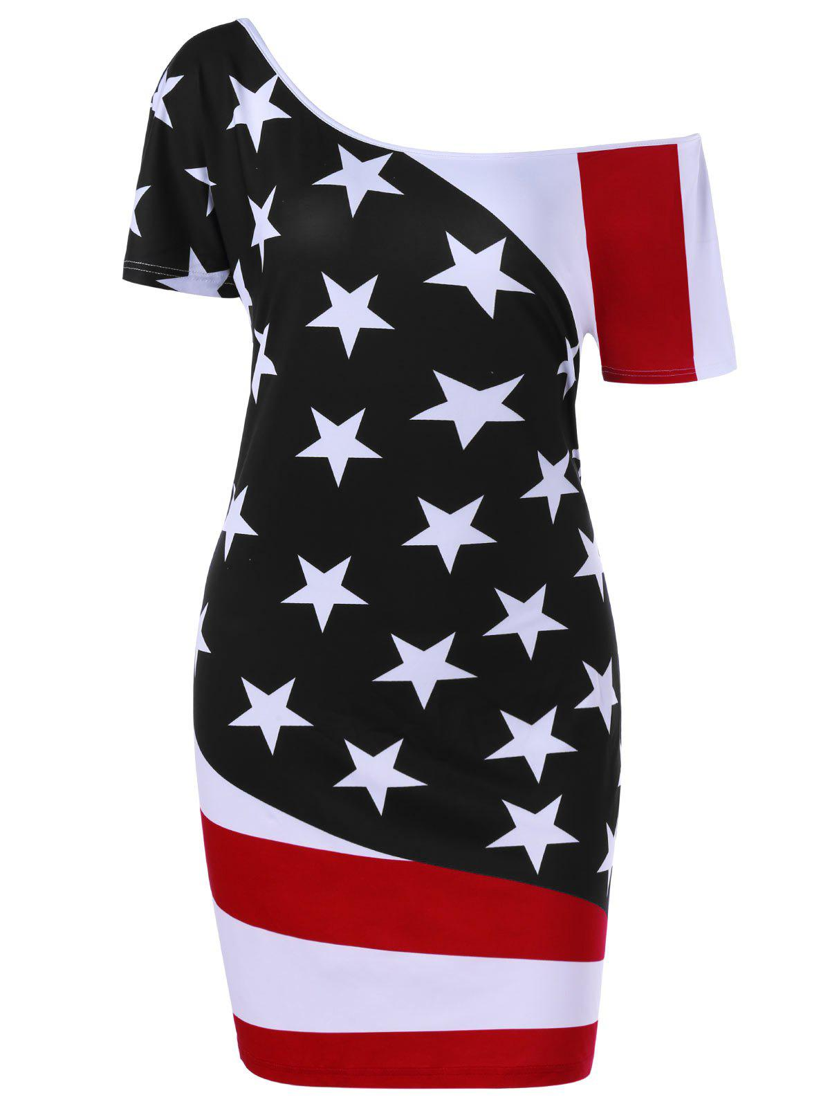 Plus Size Skew Neck  American Flag Patriotic Bodycon Dress - BLACK 3XL