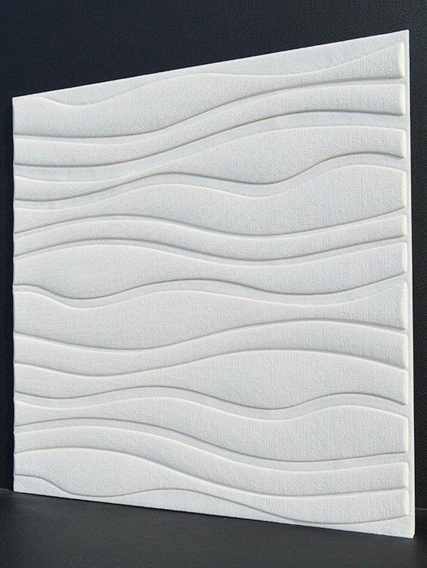 Eco-Friendly Embossed 3D Wall Decor Sticker - Blanc 60*60CM