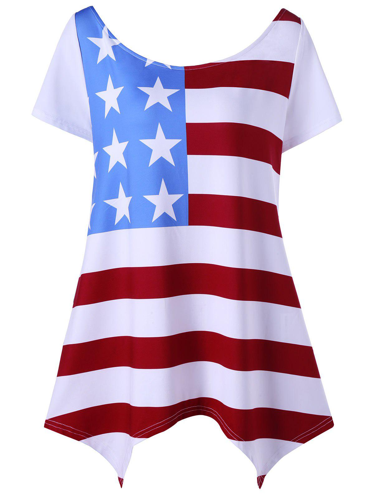 Asymmetric Patriotic Plus Size American Flag T-Shirt free shipping 5pcs lot ty2464 offen use laptop p 100% new original