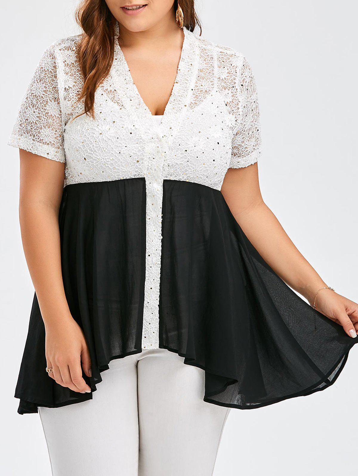 Plus Size Colorblock Lace Panel Swing Top - BLACK XL