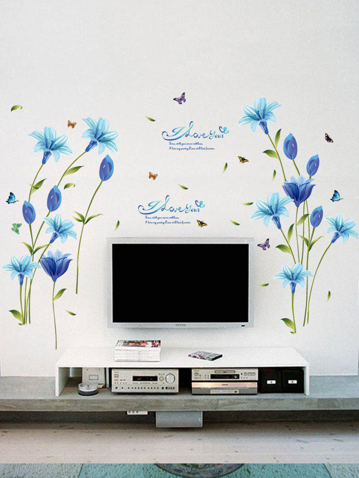 Lily Flower Vinyl Decorative Wall Art Sticker flower bridge river pattern 3d wall art sticker