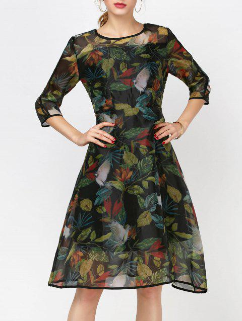 Fashionable Women's Round Collar Long Sleeve Printed Organza Dress - INK PAINTING L