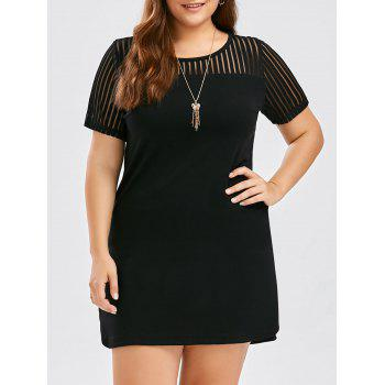 Fitted Mesh Trim Plus Size Dress