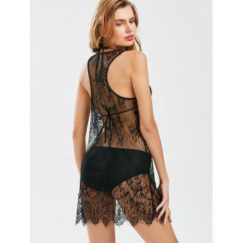 Lace Sheer Racer Back Tunic Cover Up - Noir XL