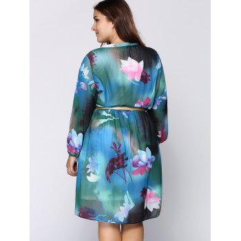 Chiffon Plus Size Long Sleeve Floral Dress - BLUE L