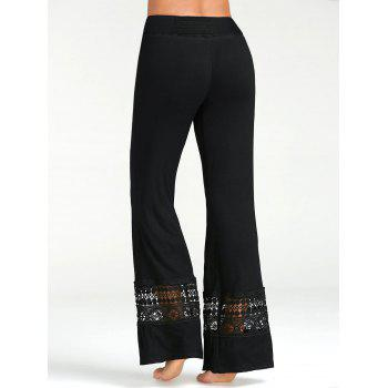 High Waisted Lace Insert Palazzo Pants - S S