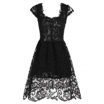 Cocktail Lace Short Fit and Flare Prom Dress