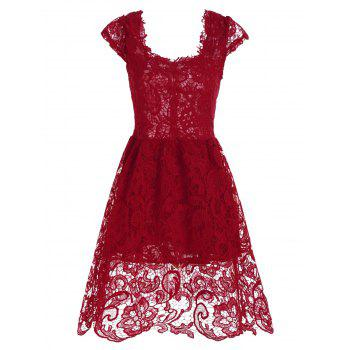 Cocktail Lace Short Fit and Flare Dress
