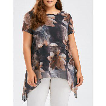 Flower Ink Wash Painting Plus Size Asymmetric Tunic Top