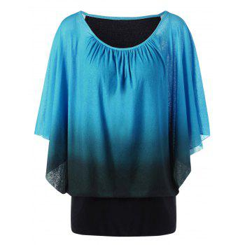 Plus Size Ombre Butterfly Sleeve T-Shirt