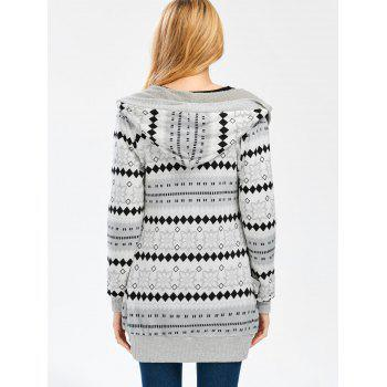 Geometric Button Up Hooded Cardigan - GRAY S