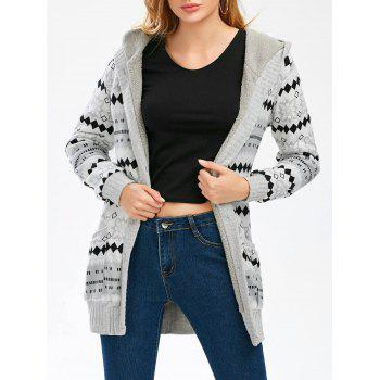 Geometric Button Up Hooded Cardigan