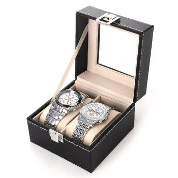 Leather 2 Gids Watches Case Jewelry Storage Plastic Top Dispay Box