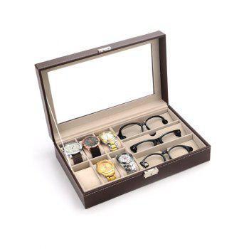 Collection Classic 9 Grids Leather Watches and Glasses Case Display Box