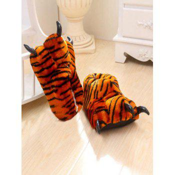 Leopard Print Tiger Stripes Bear Claw Plush Heel Cover Couples Slippers