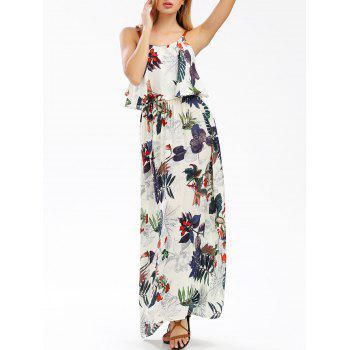 Elastic Waist Sleeveless Tropical Printed Beach Maxi Dress