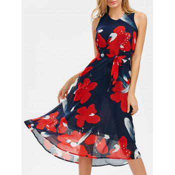V Neck Printed Belted Chiffon Dress