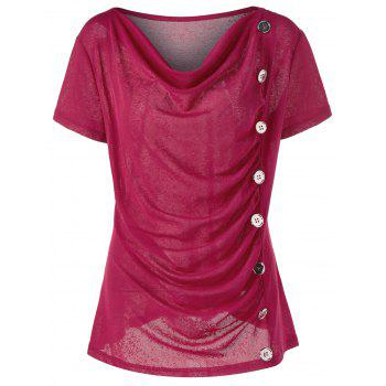 Buy Plus Size Cowl Neck Single Breasted T-Shirt RED