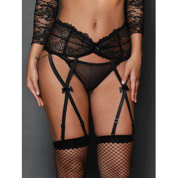 High Waist Steel Boned Lace Garter Briefs
